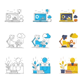Goed idee vector moderne icon set