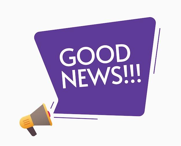 Goed nieuws aankondiging bericht van megafoon luidspreker illustratie platte cartoon afbeelding