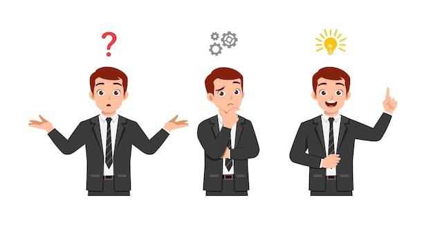 Goed uitziende man denken en zoeken naar een ideeproces