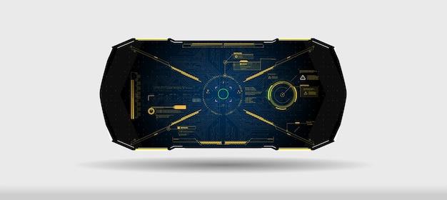 Goed voor game uiux. set moderne frames, toelichtingen voor interface-elementen van gebruikersmenu in futuristische hud-stijl.