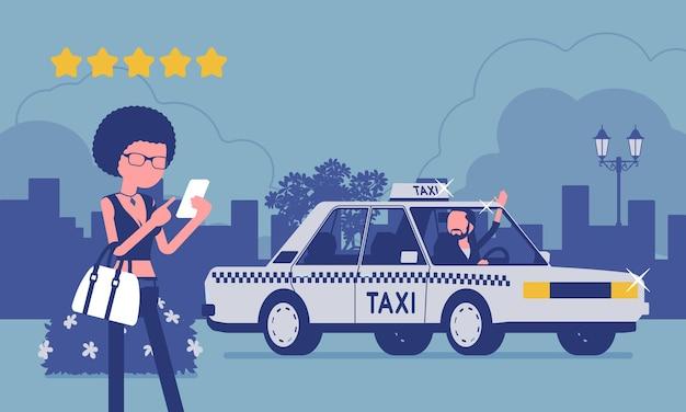 Goede autobestuurder in app-systeem voor taxibeoordeling