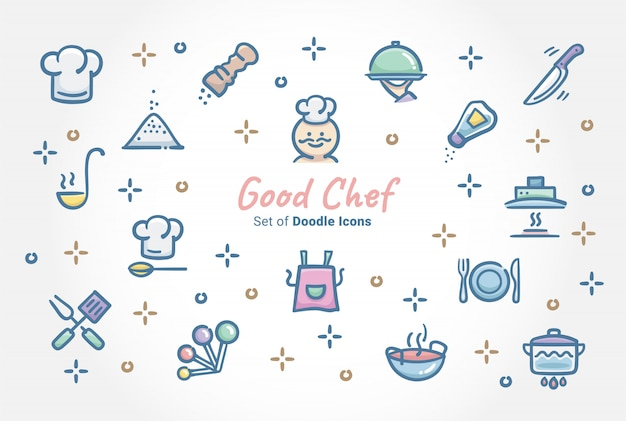 Goede chef doodle icon set