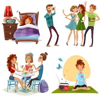 Goede dag met vrienden 4 pictogrammen
