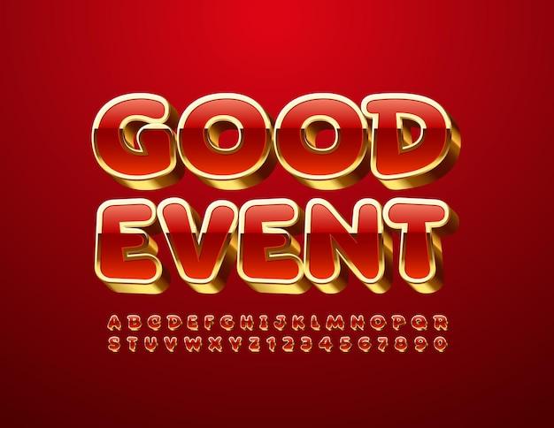 Goede gebeurtenis rode en gouden lettertype chique alfabetletters en cijfers ingesteld