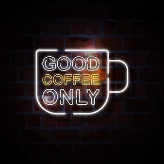 Goede koffie alleen neon stijl teken illustratie