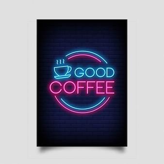 Goede koffie in neontekenstijl