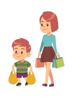 Goede manieren. jongen helpt moeder. beleefd kind met goede manieren die pakketten vasthoudt in supermarkt of winkelcentrum. moeder met zoon samen winkelen. kinderen etiquette concept cartoon platte vectorillustratie