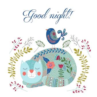 Goede nacht. kunst vector kleurrijke illustratie met schattige kat, vogel en bloemen.