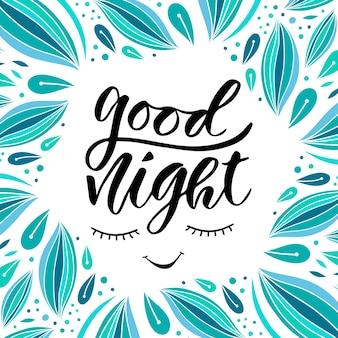 Goede nacht. met de hand geschreven illustratie voor de decoratie van de sluimerpartij