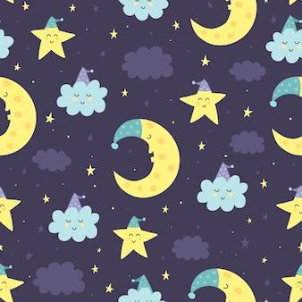 Goede nacht naadloze patroon met schattige slaapmaan, sterren en wolken. zoete dromen