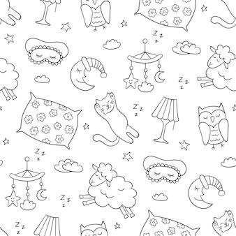 Goede nacht. slaap naadloos patroon in doodle stijl