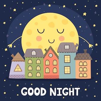 Goede nachtkaart met maan en stadslandschap