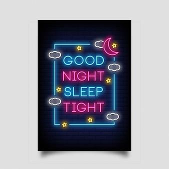 Goede nachtrust slaap voor poster in neon stijl
