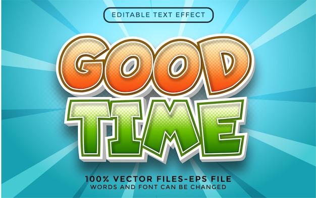 Goede tijd bewerkbare teksteffect premium vectoren