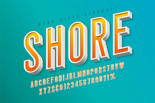Goede vibes retro lettertype. 3d-weergave lettertype