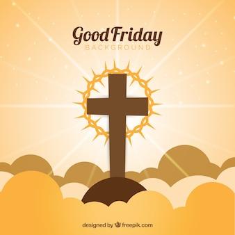 Goede vrijdag achtergrond met kruis en de kroon van doornen
