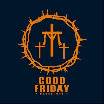 Goede vrijdag achtergrond met kruis en doornen