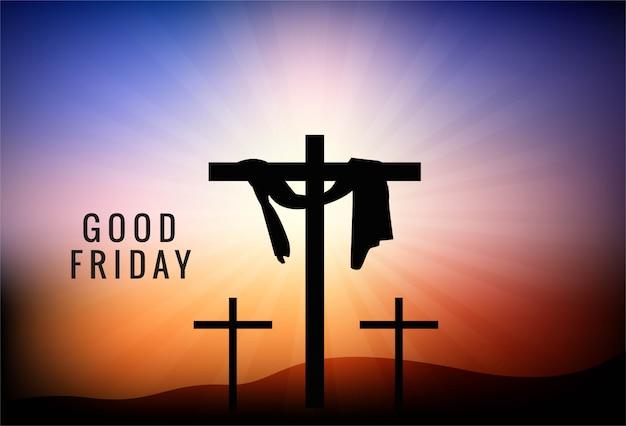 Goede vrijdag achtergrond met kruis en zonnestralen in de lucht