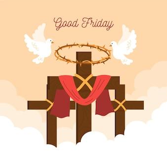 Goede vrijdag illustratie met kruisen