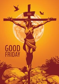 Goede vrijdag, illustratie van de kruisiging van jezus christus.
