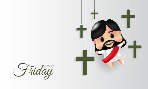 Goede vrijdag van het kruis en decoratie van jezus