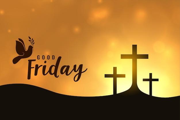 Goede vrijdag wenskaart, heilige week kruist illustratie Gratis Vector