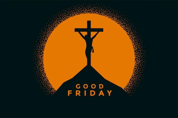 Goede vrijdagachtergrond met de kruisiging van jesus-christus