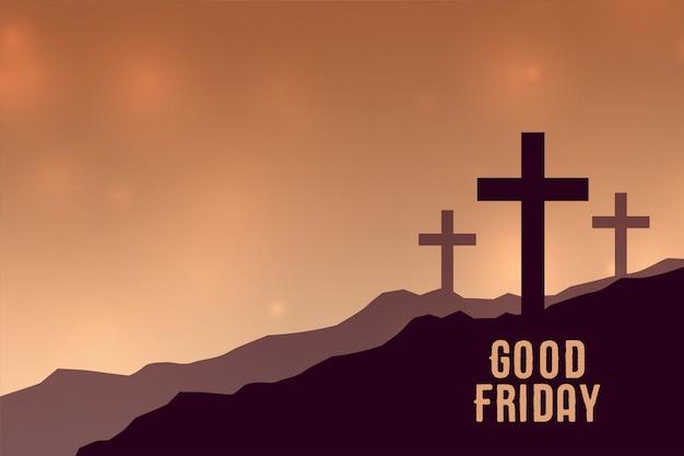 Goede vrijdagachtergrond met drie kruissymbolen