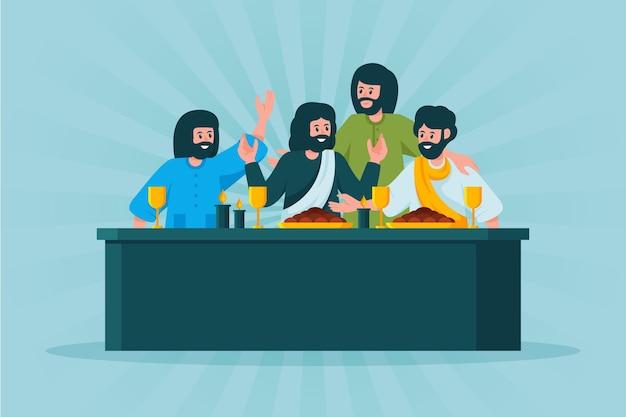 Goede vrijdagillustratie met jezus en discipelen die een feest hebben