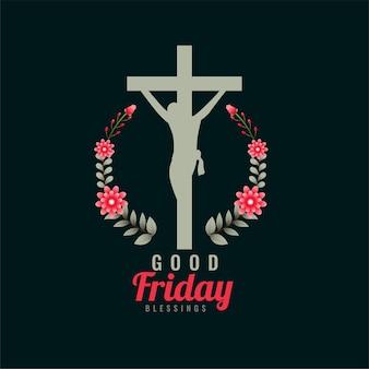 Goede vrijdagsymbool met kruis en bloemen