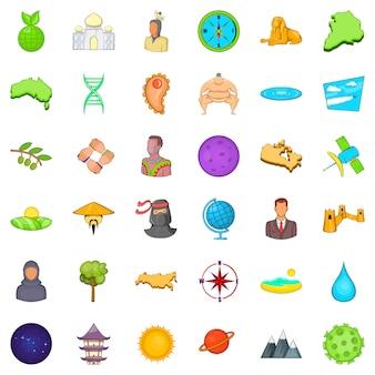 Goede wereld iconen set, cartoon stijl