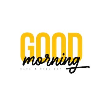 Goedemorgen belettering zin vector moderne lijn kalligrafie