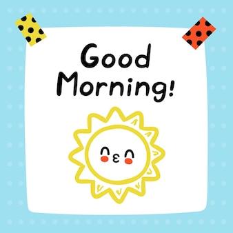 Goedemorgen citaat op leuke grappige papieren notitie. Premium Vector