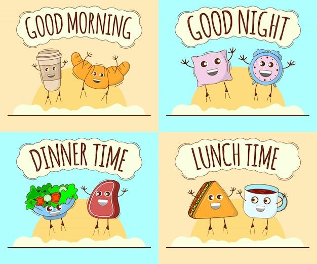 Goedemorgen, goede nacht, diner, lunchtijd. leuk karakter