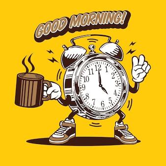 Goedemorgen klok koffie mascotte karakter ontwerp