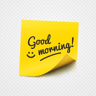 Goedemorgennota op geel kleverig document
