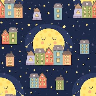 Goedenacht naadloos patroon met slaapmaan en beeldverhaalstadslandschap. vector illustratie