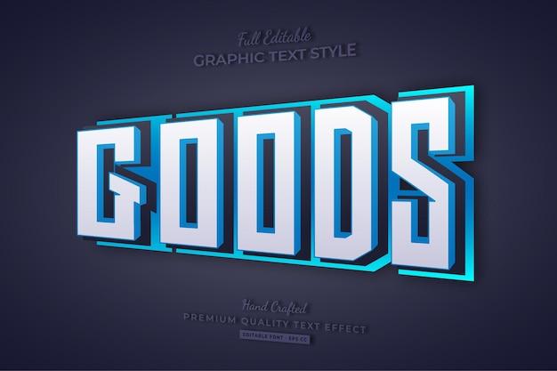 Goederen blauw 3d bewerkbare teksteffect tekenstijl