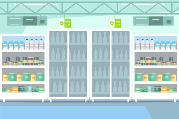 Goederen op plank in supermarktillustratie. zuivelproducten sectie in lege wandelgalerijtekening. merchandising. koelkasten met flessen verse melk. supermarkt. biologische en eco-yoghurt