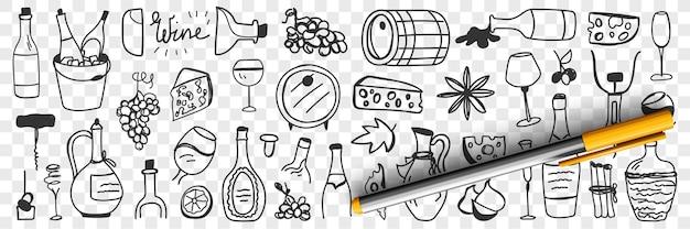 Goederen voor het maken van wijn doodle set