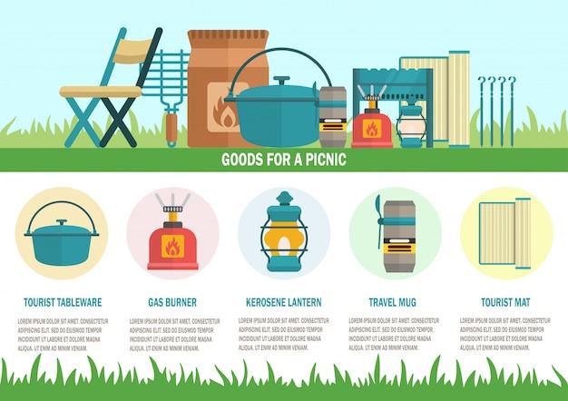 Goederen voor picnic flat vector landing page template