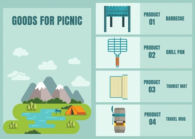 Goederen voor picnic shop online advertising