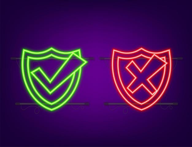 Goedgekeurd en afgewezen label sticker neon icoon. vector voorraad illustratie.