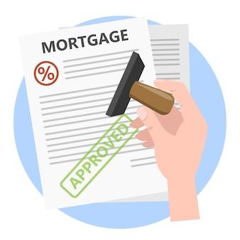 Goedgekeurd papieren document met groene stempel erop. hypotheek goedkeuren. illustratie