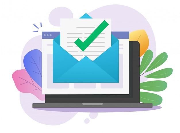 Goedgekeurde e-mail digitale mail brief bericht aankondiging vinkje in document online op laptopcomputer