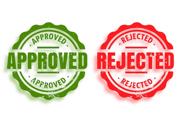 Goedgekeurde en afgekeurde stempels set van twee
