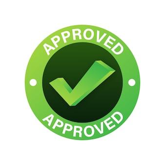 Goedgekeurde medaille. ronde stempel voor goedgekeurde en geteste producten, software en diensten. vector voorraad illustratie.