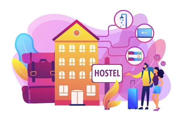 Goedkope herberg, betaalbaar pension. college slaapzaal, motel inchecken. hostel diensten, goedkopere accommodatie, beste hostel faciliteiten concept.