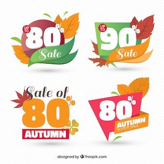 Goedkope stickers met de herfstbladeren