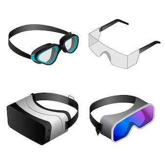 Goggles pictogramserie. isometrische set van bril vector iconen